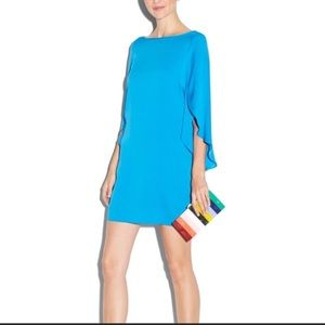 Milly teal silk dress with flutter sleeves